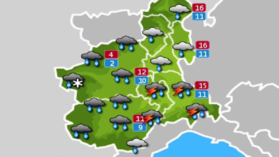 Allerta gialla per pioggia sul Cuneese, tempo migliore da venerdì